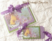 Handmade Vintage Shabby Lilac Easter Card and  Gift Tag  Set