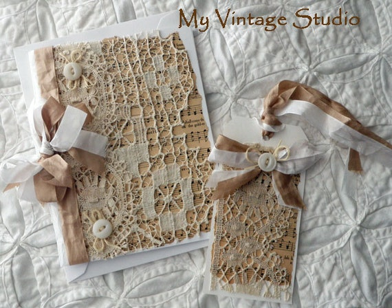 Handmade Vintage Shabby Romantic French Lace Card and  Gift Tag Set