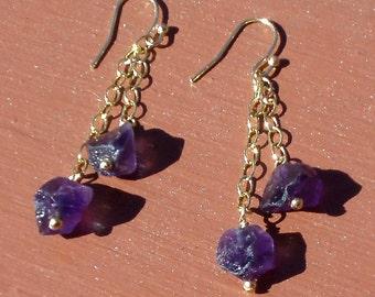 Grape Amethyst Nugget Dangle Gold Earrings