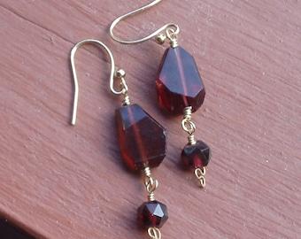 Glowing Garnet Nugget Dangle Drop Earrings