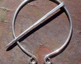 Sterling Silver Penannular Brooch, Fibula, Scarf Pin, Shawl Pin, Kilt Pin, Clasp