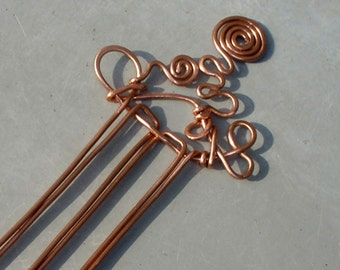 Abstract Copper Hair Comb, Hair Slide, Hair Stick