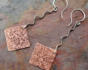 Sterling Silver and Copper Dangle Earrings with Texture Hammered Diamond Squares