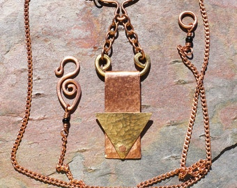 Brass, Copper, and Onyx Pendant Necklace Riveted with Hammered Geometric Shapes