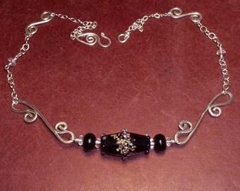 Black Artglass Crystal Swash Sterling Necklace