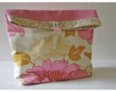 Vintage Pink Denim and Amy Butler Lotus Tree Peony Handmade Large Pouch Clutch Flat Bottom Padded Kindle Make Up Travel Gadget Bag