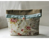 Linen Pottery Barn Print Handmade Large Pouch Clutch Flat Bottom Padded Kindle Make Up Travel Gadget Bag
