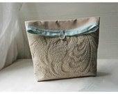 Handmade Champagne Matelasse Large Pouch Clutch Flat Bottom Padded Kindle Make Up Travel Gadget Bag