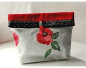 Poppy Flower Print Handmade Large Pouch Clutch Flat Bottom Padded Kindle Make Up Travel Gadget Bag