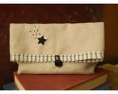Linen clutch purse Star Bag Hand Embroidery Oatmeal Bridesmaid Gift Under 25 Wedding Black Ticking Pouch MakeUp clutch Travel