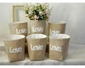 box linen 3 LOVE Letters etsy Weddings decor Set 3 Deposit Oatmeal Linen Bin Organizer Storage Basket Gift Wrap