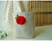box linen Red Rosebud Rose weddings decor Oatmeal Linen Bin Organizer Storage Basket Embroidery Felt Recycled  tagt team  Gift Wrap