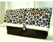 Leopard Clutch, black ivory gold, Tropical Wedding Bridal Clutch, Bridesmaid Gift, Bridesmaid Clutch, Makeup Bag, tagt team