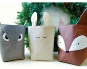 Fabric Organizer Bin Forest Friends Box Fox Owl Bunny Rabbit SET 3 Linen Organizer Storage Embroidery handmade Gift Wrap