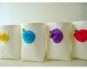 Blue purple pink rose flower Box white Linen burlap bin basket SET 4 Storage etsy Wedding Party Gift Wrap Organizer handmade