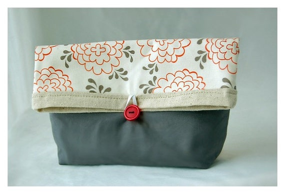 Orange Clutch purse Grey Bag Bridesmaid Gift Under 25 Wedding Accessory MakeUp clutch Travel Gadget tagt team