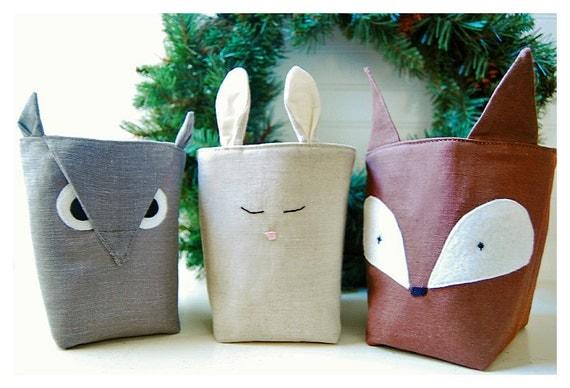 Fabric Organizer Bin Forest Friends Box Fox Owl Bunny Rabbit SET 3 Linen Organizer Storage Embroidery handmade Gift Wrap