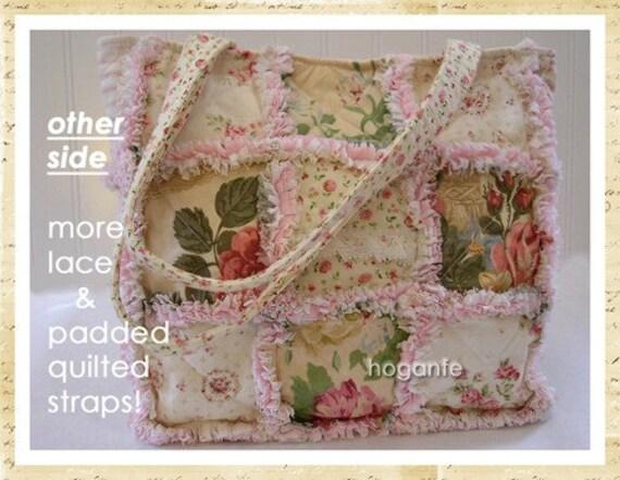Creamy Ruffles Vintage Style Robyn Pandolph Laura Ashley Rag Quilt Diaper Bag Tote