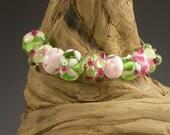 LBL Lampwork Glass Beads -  9 Pink/Green Beads