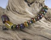 LBL Lampwork Glass Beads -  14 Petite Raku Beads