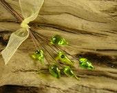 "3"" 24 ga Copper Lampwork Headpins - 6 Bright Green Leaves"