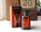 vintage glass bottle with labels, 1950's Griffin Black Dye poison
