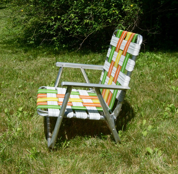 Items similar to vintage folding aluminum lawn chair beach chair webbing in