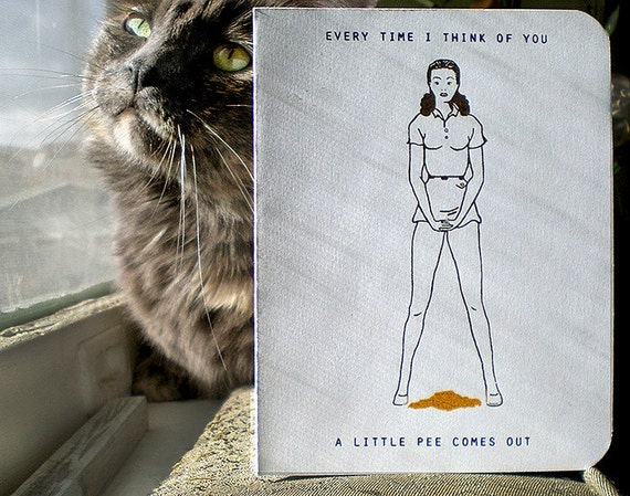 P O R T E R N E S S  \/\/\/  4 Gocco Cards - Every Time I Think of You A Little Pee Comes Out