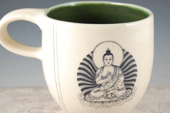 Buddha Mug in green and white