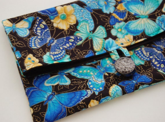 Clutch Purse Blue Black Butterflies