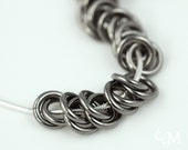 Knotted Graphite Necklace - Chain Maille in Niobium and Sterling - Dark Gray Grey Spirals - Ready to Ship - 10% loaned through Kiva.org