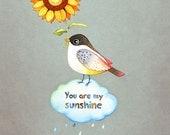 You are my sunshine wall art print