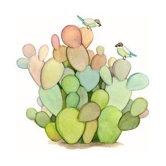 Watercolor painting, Cactus painting, Wall decor art, Colorful cactuses and birds print