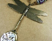 Time's Draggin', Vintage Watch Parts Necklace with Dragon Fly