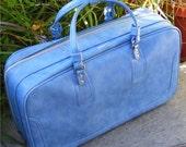 Samsonite Vintage Luggage, Blue Scandia Soft Suitcase, International Shipping