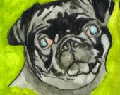 Cute Pug Watercolor Portraits 9 x 12 inches You Provide The Picture Or Idea Made to Order by Pigatopia