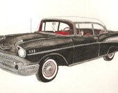 1957 Chevy Original 9 x 12 inch Watercolor Portraits You Provide The Picture Or Idea Made to Order by Pigatopia