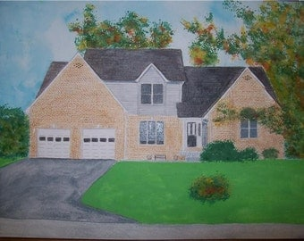 Brown Brick House Portrait Watercolor Provide Picture or Idea Made to Order 9 x 12 inch by Pigatopia