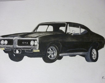 Classic Car Portrait Watercolor 1969 GTO 11 x 15 inch You Provide The Picture or Idea made to order by Pigatopia