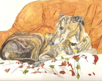 Pet Portrait Greyhound Original Watercolor 9 x 12 inchesYou Provide The Picture Or Idea Made to Order by Pigatopia