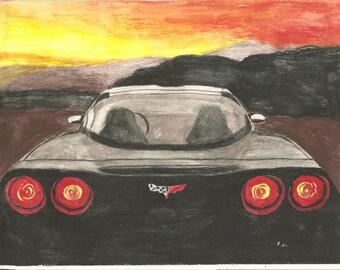 Corvette Rear View Original Watercolor Portrait 9 x 12 inch by Pigatopia