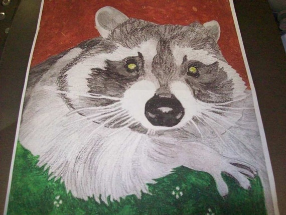 Raccoon Portrait Original Watercolor 9 x 12 inch You Provide The Picture Or Idea Made to Order by Pigatopia