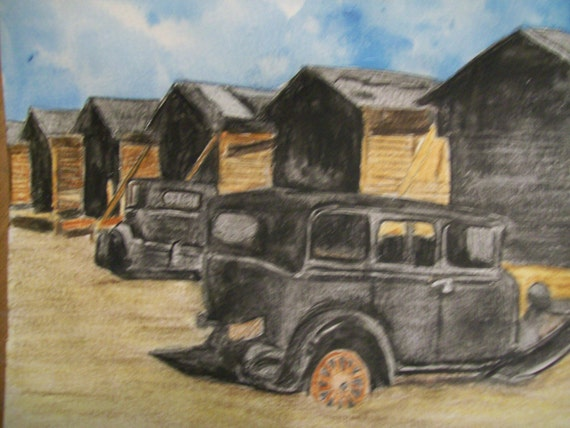 Old Cars Forgotten Life Original Watercolor 5 x 6.5 inches by Pigatopia