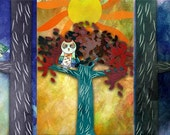 Morning Afternoon Evening Owls Blank Notecards - Set of 3