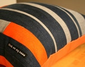 Nautical Stripes Deconstructed Denim Pillow