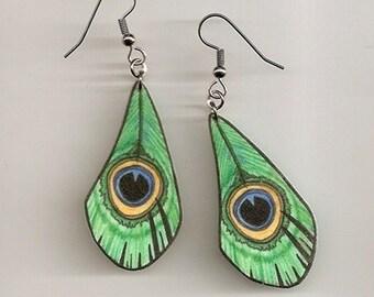Green Peacock Feather Earrings