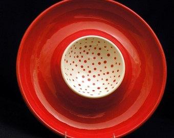 Platter. Red Chip and Dip Platter. Red. Chip. Dip. Serving. Platter. Handmade by Sara Hunter Designs