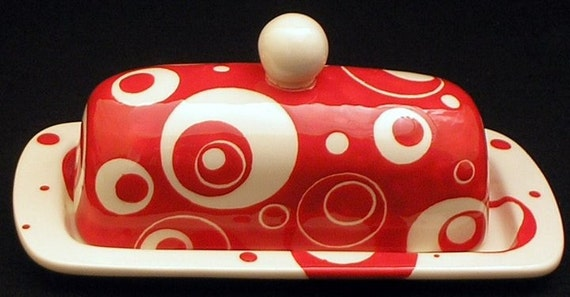 Butter Dish.Butter Dish. Solid Red & White Circle Designed Knobbed Butter Dish.Red.White.Circle.Handmade by Sara Hunter Designs