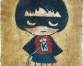 Knitting Girl Hero - print