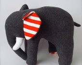 Plush Elephant - Gray with Red and White Stripes